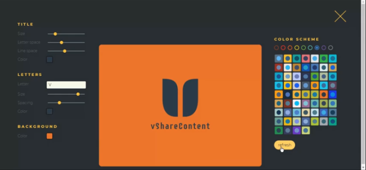 vsharecontent.com screenshot of logo designed by brandmark